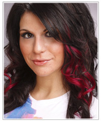 Dark hair with pink highlights